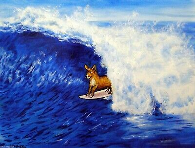 BASENJI dog art surfing signed art print animals impressionism artist 11x14