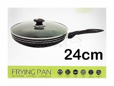 Una 24cm Induction Compatible Non Stick Frying Pan Frypan Sauce With Glass Lid