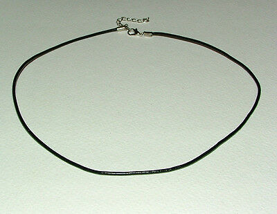 """Thin Brown Leather Choker Necklace Silver Plated Trigger Clasp 18"""""""