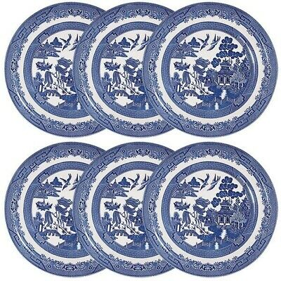 Set Of 6 Dinner Plate 26 Cm Churchill Willow Blue Tableware Dinnerware Plates