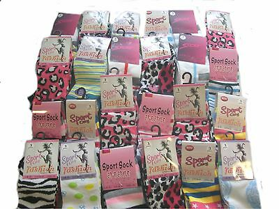 Wholesale Job Lot  ASSORTED  96 pairs ladies size 4-7 Designer trainer socks
