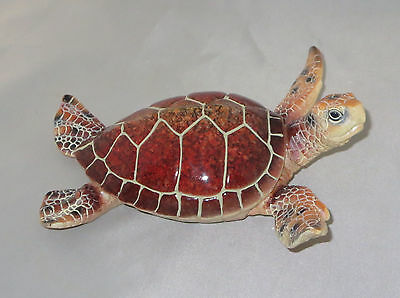 "Sea Turtle Figurine Brown Red Shell New Water Animals Tropical 6.5"" Long"
