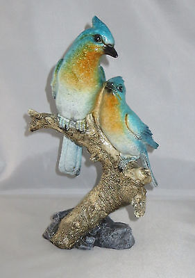 "Blue Jay Birds Figurine Perched on Branch 9"" High New Couple"