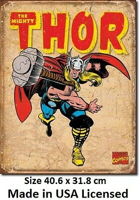 Thor Hammer Throw Tin Sign 1739  Made in USA - LICENSED TO MARVEL COMICS