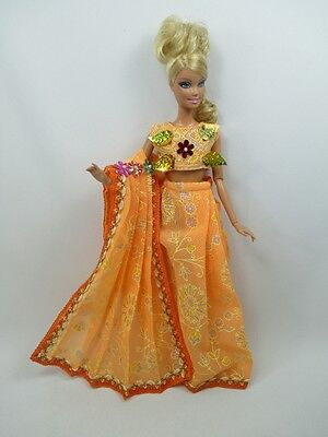 Handcrafted Barbie Outfit Traditional Indian Sari Dress # 11