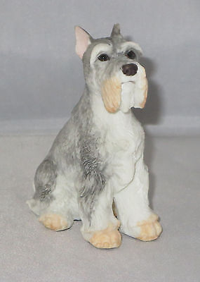 Schnauzer Figurine Grey Cream Puppy Dog Sitting New
