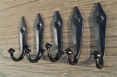 A set of 5 black iron ancient  English design coat hooks coathook hanger OB7