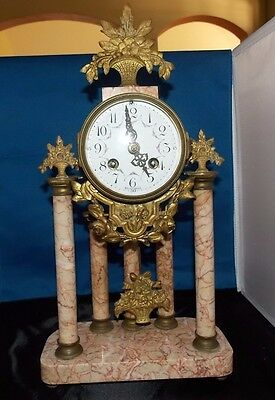 French Marble and Ormulo 5 Column Portico Clock Selsi Paris Works Perfectly!