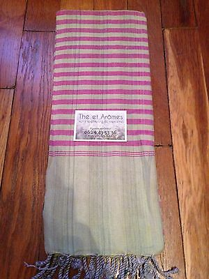 Foulard Krama Tradition Cambodge Association Humanitaire 170x65cm -rose Et Vert