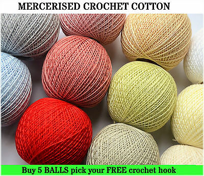 5 x Mercerised Crochet Cotton 30g ball 200m + FREE crochet hook (1mm to 1.9mm)