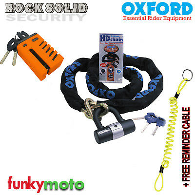 Grid Alarm Disc Lock Motorbike & Oxford Hd Sold Secure 1M Chain Security Dlr
