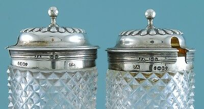 Pair of George IV sterling silver mounted glass mustard pots, London 1825