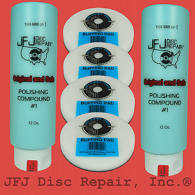 Jfj Combo Pack: 2 Blue #1 Polish Compound Solution 12Oz + 4 Easy Pro Buff Pads