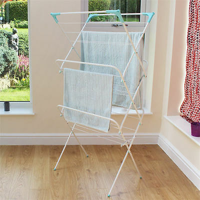 White Indoor Outdoor Folding 3 Tier Concertina Laundry Clothes Horse-11-001