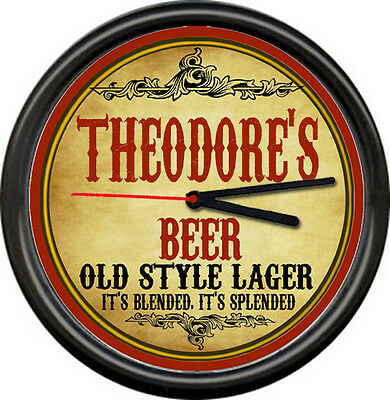Theodore Theodore's Beer Ale Brewing Tavern Man Cave Retro Bar Sign Wall Clock