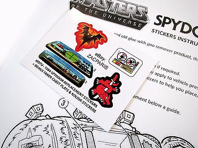MOTU Masters of the Universe replacement stickers for 1984 SPYDOR WITH Bonus???