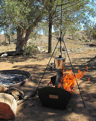 BOSS4 Billy Boss Adjustable Campfire Tripod Camping Cooking with Storage Tube