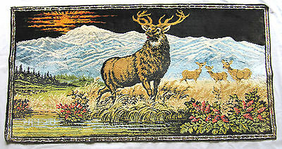 "Vintage Italian Velvet Tapestry Buck Doe Deer Decor Hanging 19 1/2"" X 38"""