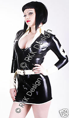 LARGE 100% Latex Rubber Air Hostess Uniform Second Skin Catsuit Style Rubber