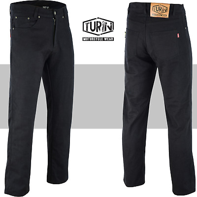 TMW Mens High Quality Black Reinforced Motorcycle Jeans With Protective Lining