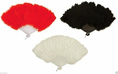 Ladies Burlesque Feather Hand Fan Red, Black, White Gangster Fancy Feather Fans