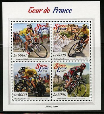 SIERRA LEONE 2015 TOUR de FRANCE SHEET  MINT NH