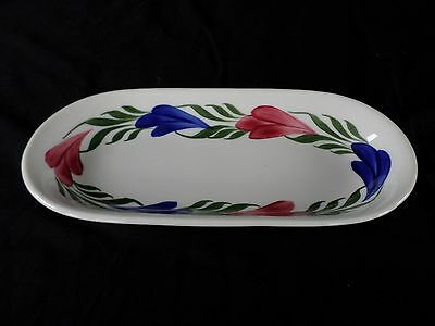 Syracuse China * CHANTILLY-Red-White-Blue Narrow Smooth Rim * Celery~Relish Tray
