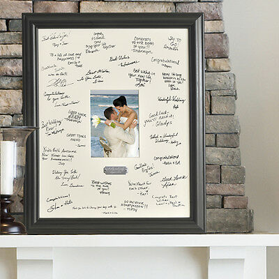 Wedding Wishes Engraved Signature Mat Photo Picture Frame Guest Book Alternative