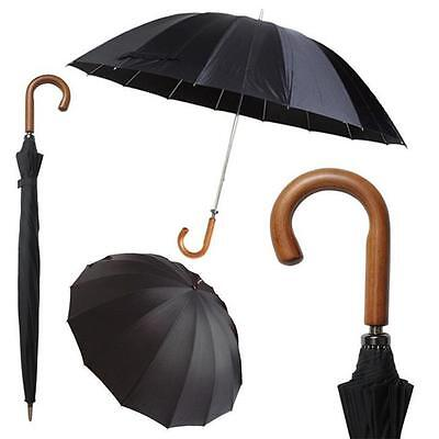 DELUX Heavy Duty Wooden Crook Handle Doorman Style Stick Umbrella BLACK