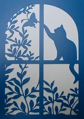 Scrapbooking - STENCILS TEMPLATES MASKS Sheet - Cat Window Stencil