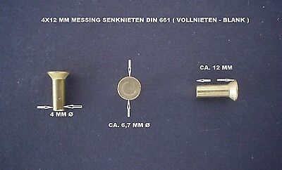 10 X Brass Countersunk Rivets - - 4X12 Mm Din 661 ( Solid - Blank )