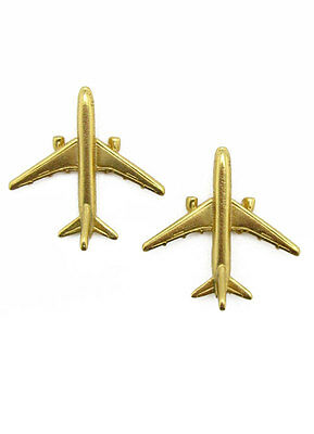 ACROSS THE PUDDLE Collectible 24k Gold Plated Airplane Earrings