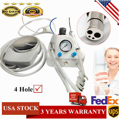 Portable Dental Air Turbine Unit Work with Compressor Handpiece Adapter 4 Hole