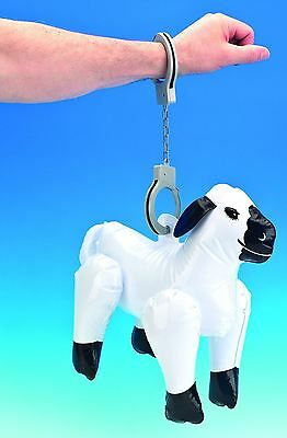 Inflatable Blow Up Sheep With Handcuffs Stag Night Gag Lads Party Boys Bight Out
