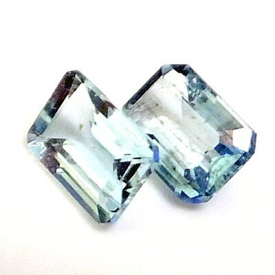 NATURAL AQUA BLUE AQUAMARINE LOOSE GEMSTONES (2 pieces) EMERALD CUT