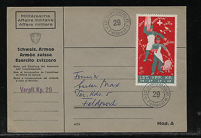 Switzerland  soldier stamp on cover , large stamp  ration  feldpost     MSo016