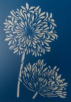 Scrapbooking - STENCILS TEMPLATES MASKS Sheet - Flowers - Agapanthus