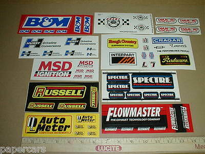 Model Slot Car Train Ho Scale drag auto racing sticker decal lot Hurst MSD B&M