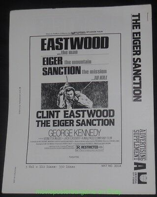 THE EIGER SANCTION/ THUNDERBOLT AND LIGHTFOOT PB Movie Poster Art CLINT EASTWOOD