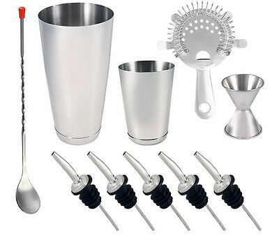 10 piece Stainless Steel  Professional Bartending, Cocktail Shaker Set