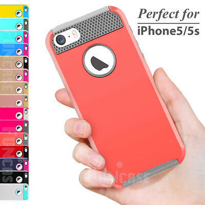 Shockproof Rugged Rubber Hybrid Hard Protective Case Cover for iPhone 5/5S & SE