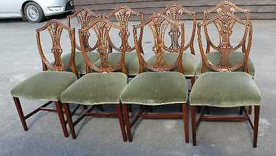 Set 6 Light Mahogany Prince of Wales Dining Chairs with Green Pop out Seats.