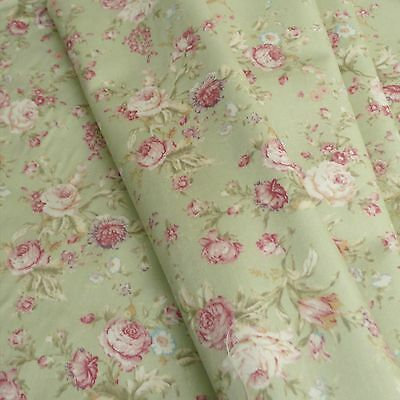 Floral Rose cotton Poplin print Fabric Vintage style dusky pink and sage green