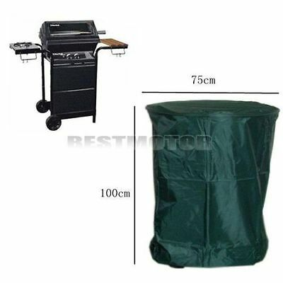 Round Waterproof BBQ Cover Outdoor Garden Burner Barbecue Grill Protector Green