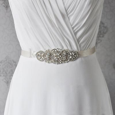 Retro Rhinestone Pearl Crystal Waist Belt Bridal Wedding Waistband Dress Sash