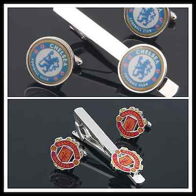 Chelsea Manchester United football club Tie Clip Bar Cufflinks for football fans