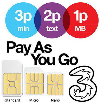 Official Three 3 Network Pay As You Go Sim Card SEALED (Standard / Micro / Nano)