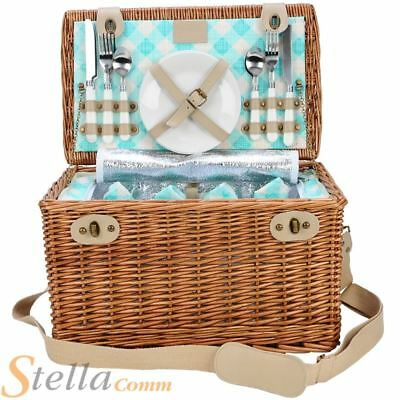 Optima Alfresco 4 Person Willow Gingham Picnic Hamper Basket With Cooler