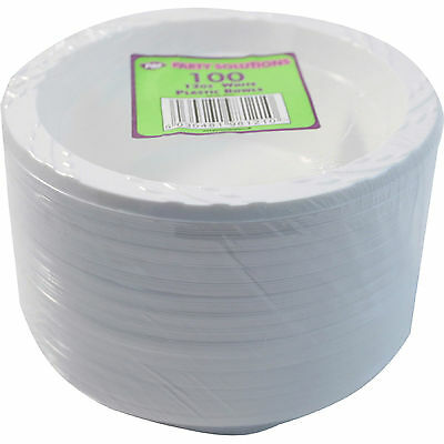 100 x WHITE PLASTIC BOWLS 12oz 15cm DISPOSABLE CATERING PARTIES PARTY SUPPLIES