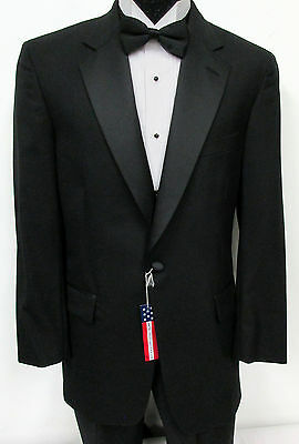New Black Brooks Brothers One Button Satin Lapel Tuxedo Jacket Wedding Prom 39R